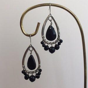 3/$15 Vintage Black bead chandelier earrings